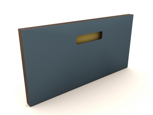 Muster 40x20  ONE_PURE_LIVING SMOKEY BLUE, Griff ONE GOLD, Kante OAK BLACK (MESSING/KUPFER)