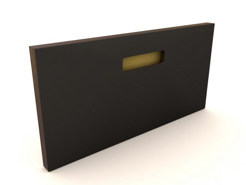 Muster 40x20  ONE_PURE_LIVING NERO, Griff ONE GOLD, Kante OAK BLACK (MESSING/KUPFER)